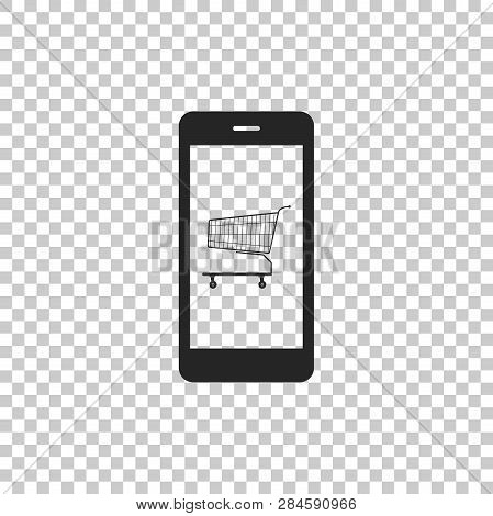 Online Shopping Concept. Shopping Cart On Screen Smartphone Icon Isolated On Transparent Background.