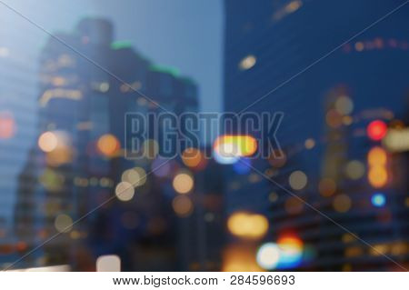 Night City Lights Bokeh Background, Lights Blurred Building Bokeh Background For Design Colorful Of