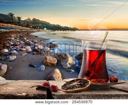 Turkish Tea On Mediterranean Sea At Sunset