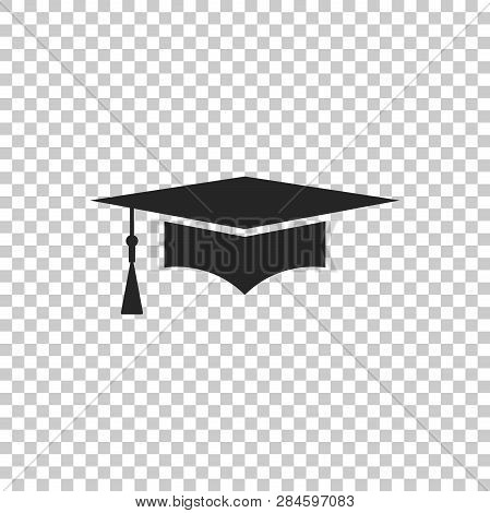 Graduation Cap Icon Isolated On Transparent Background. Graduation Hat With Tassel Icon. Flat Design