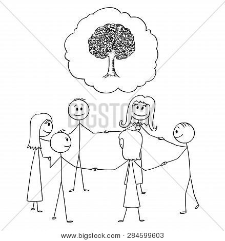 Cartoon Stick Figure Drawing Conceptual Illustration Of Group Or Team Of People Or Businessmen Stand