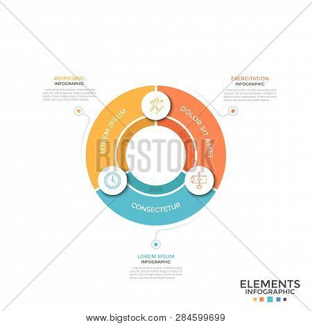 Pie Chart Divided Into 3 Equal Colorful Sectors With Linear Symbols And Year Indication. Concept Of
