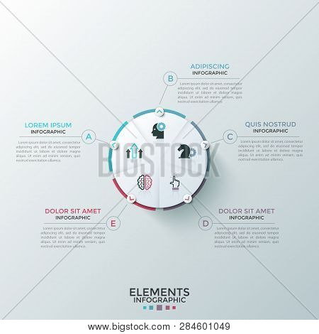Round paper white pie chart divided into 5 equal sectors with flat icons inside connected to text boxes. Concept of five-stepped cyclic process. Modern infographic design layout. Vector illustration. poster