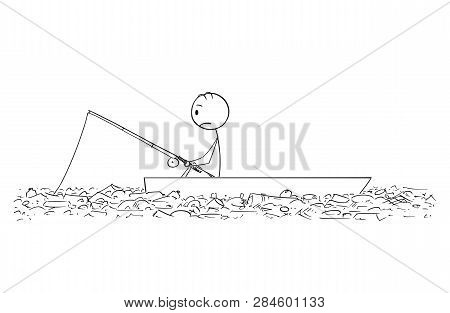 Cartoon Stick Figure Drawing Conceptual Illustration Of Fisherman Fishing On Dory Or Small Boat On P