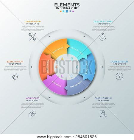 Circular Diagram Divided Into 6 Colorful Pieces With Arrows, Thin Line Icons And Text Boxes. Concept