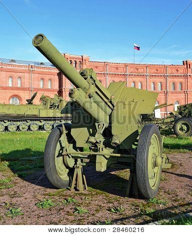 Artillery Antitank Gun Installed In The Museum