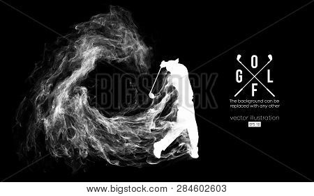 Abstract Silhouette Of A Golf Player, Golfer On The Dark, Black Background From Particles, Dust, Smo
