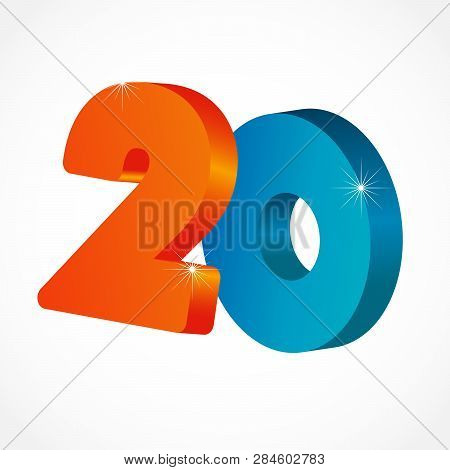 20 Th Years Old Congrats. Isolated Abstract Colored Graphic Design Template. Up To 20 Or -20 % Off L
