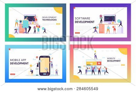 People Character Make Software Development Landing Page. Programming Code On Smartphone And Computer