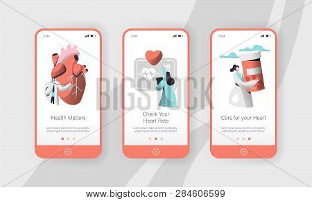 Hospital Cardiology Worker Care Heart Health Mobile App Page Onboard Screen Set Template. Emergency