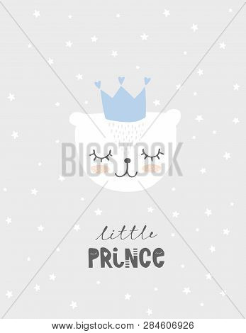 Lovely Little Prince Vector Illustration. Cute White Baby Bear Wearing Blue Crown With Heart. Light