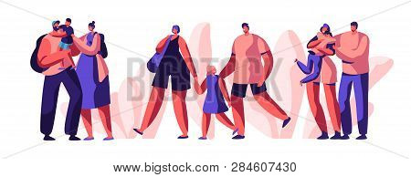 Happy Young Family Spend Joyful Time Together Set. Smiling Parent Character Hold Little Son And Daug