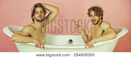 Gay Men Or Unshaven Caucasian Macho Twins With Stylish Hair, Naked, Sexy Muscular Torso Sitting In W