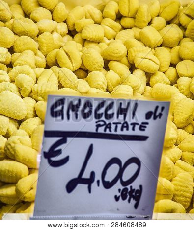 Homemade Gnocchi Di Palate For Sale In A Shop. Fresh Pasta Typical Of The Culinary Tradition Of Ital