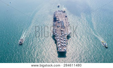 Navy Nuclear Aircraft Carrier, Military Navy Ship Carrier Full Loading Fighter Jet Aircraft, Aerial