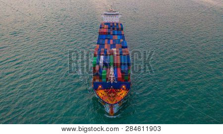 Cargo Freight Ship Carrying Container Box For Import And Export Business Logistic And Transportation