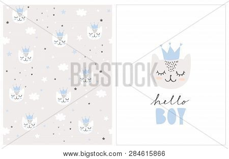 Lovely Hello Boy Vector Card And Pattern. Cute White Baby Cat Wearing Blue Crown On A White. Cats, C