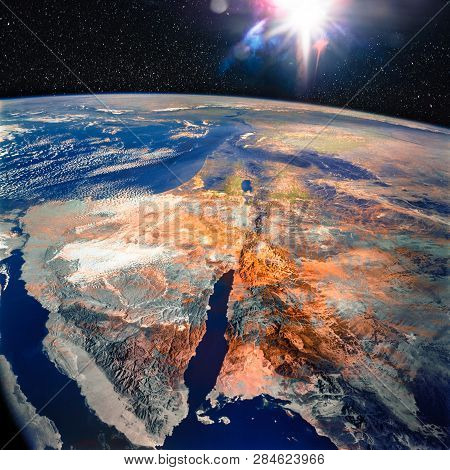 Sinai Peninsula and the Dead Sea Rift. Elements of this image furnished by NASA. poster