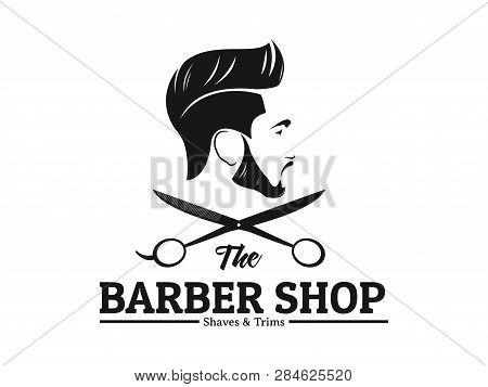 Men Barbershop Hairstylist Banner Logo Badge Vector Design