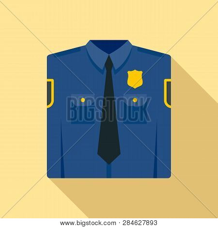 Police Uniform Icon. Flat Illustration Of Police Uniform Vector Icon For Web Design