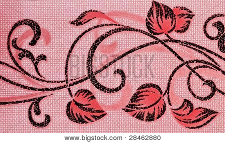 Bright Red Pattern Consisting Of Scrollwork On A Pink Background