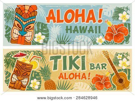 Horizontal Banners Set With Tiki Mask And Other Hawaiian Different Symbols In Vintage Style. Hawaiia