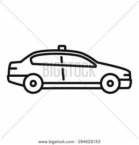 Police Patrol Car Icon. Outline Police Patrol Car Vector Icon For Web Design Isolated On White Backg