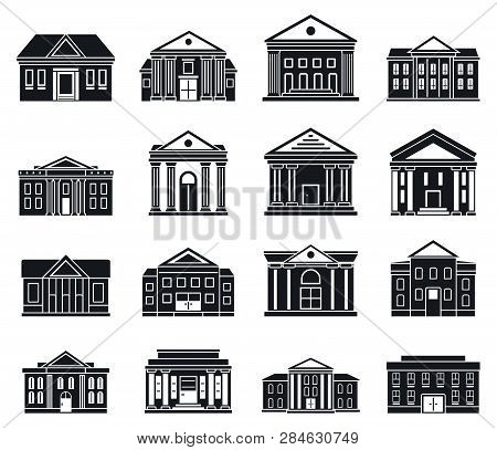 Courthouse Building Icons Set. Simple Set Of Courthouse Building Vector Icons For Web Design On Whit