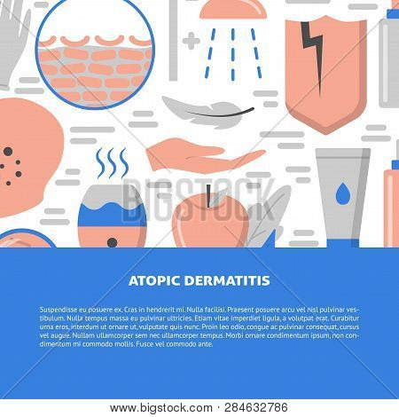 Atopic Dermatitis Concept Background In Flat Style