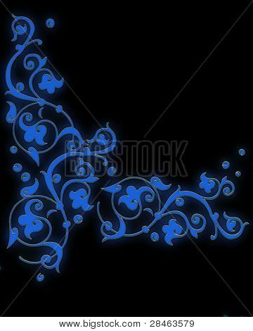 Bright Blue Pattern Consisting Of Scrollwork On A Black Background
