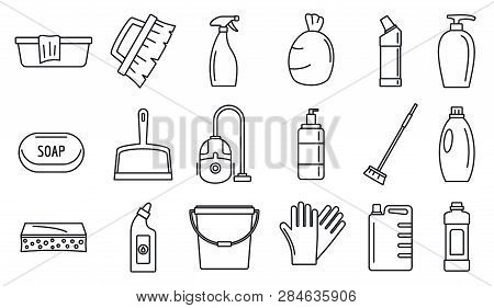 Commercial Cleaner Equipment Icons Set. Outline Set Of Commercial Cleaner Equipment Vector Icons For