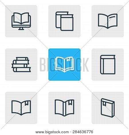 Vector Illustration Of 9 Book Icons Line Style. Editable Set Of Ebook, Handbook, Textbook Icon Eleme