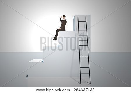 Businessman Looking Into The Distance On Top Of Stairs With Ladder On White Background. Research And