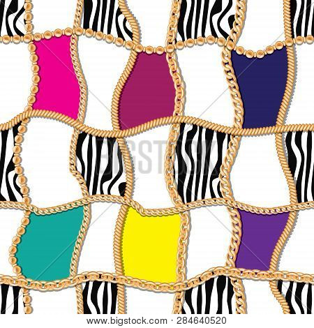 Modern Seamless Pattern With Golden Chains Checkered Backdrop. For Textile, Scarf, Cravat Design.