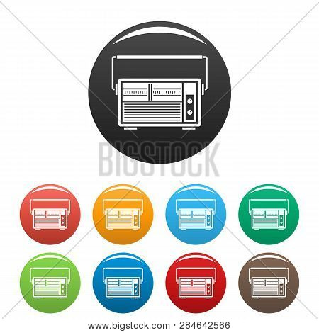 Analog Radio Icons Set 9 Color Vector Isolated On White For Any Design