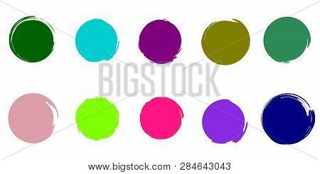 Trendy Colors Brush Circles Color Palette. Ufo Green, Plastic Pink, Proton Purple, Dark Green, Dark