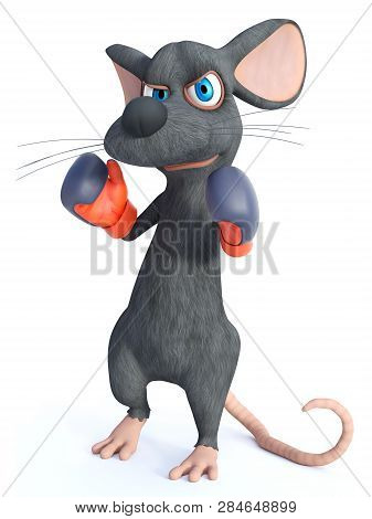3d Rendering Of A Cute Cartoon Mouse Wearing Boxing Gloves. He Looks Angry, Ready To Fight. White Ba