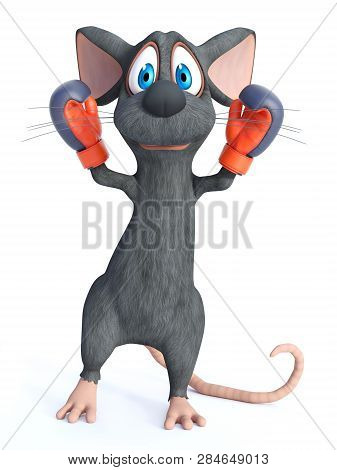 3d Rendering Of A Cute Cartoon Mouse Wearing Boxing Gloves. He Looks Like A Winning Champion. White