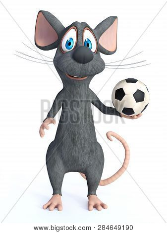 3d Rendering Of A Cute Smiling Cartoon Mouse Posing With A Soccer Ball In His Hand. White Background