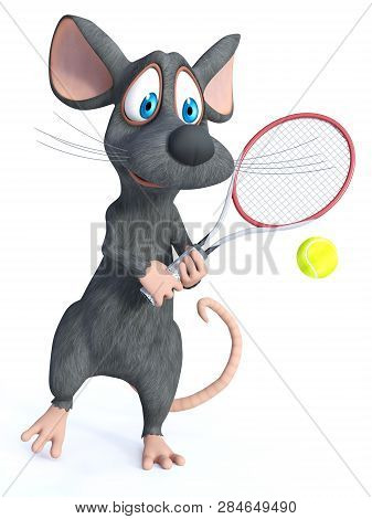 3d Rendering Of A Cute Smiling Cartoon Mouse Holding A Tennis Racket, Ready To Hit The Ball. White B