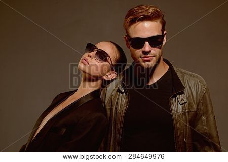 Appreciating Every Minute Together. Love Relations. Fashion Models In Trendy Glasses. Couple In Love