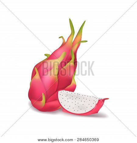 Realistic 3d Detailed Pitahaya With Half. Vector