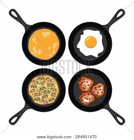 Vector Set Of Pans With Pancake, Fried Egg, Omelet With Mushrooms And Fried Meat. Collection Of Brea