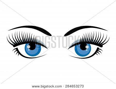 Beautiful Ice Blue Female Eyes With Eyelashes, Eyebrows And Gray Shadow Isolated On White Background