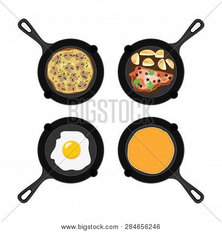 Vector Set Of Pans With Pancake, Fried Egg, Omelet With Mushrooms And Fried Meat With Potatoes. Coll