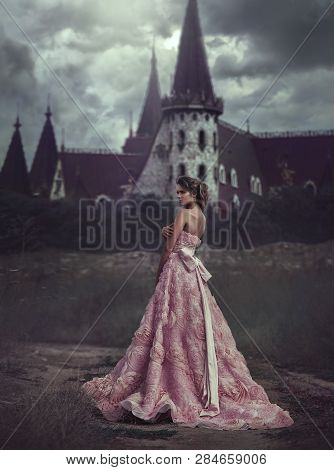 Beautiful Princess In Pink Dress On The Background Of Majestic Castle. Blonde With Long Hair Is On T