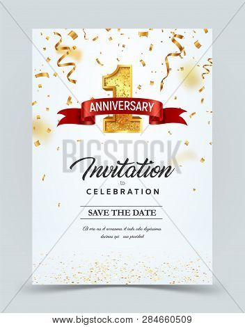 Invitation Card Template To The Day Of The 1 Anniversary With Abstract Text Vector Illustration. Gol