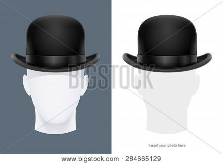 Vintage classic bowler hat at manikin. Stylish headgear for gentleman. Retro wear accessory. Male fashion. Trendy clothes. Face avatar. Isolated white background. Eps10 vector illustration. poster