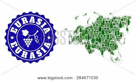 Vector Collage Of Wine Map Of Europe And Asia And Grape Grunge Stamp. Map Of Europe And Asia Collage