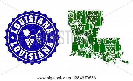 Vector Collage Of Wine Map Of Louisiana State And Grape Grunge Seal Stamp. Map Of Louisiana State Co